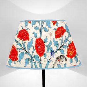 Paralume tronco di cono stampato su tela disegno Flora Albero della Vita Rosso